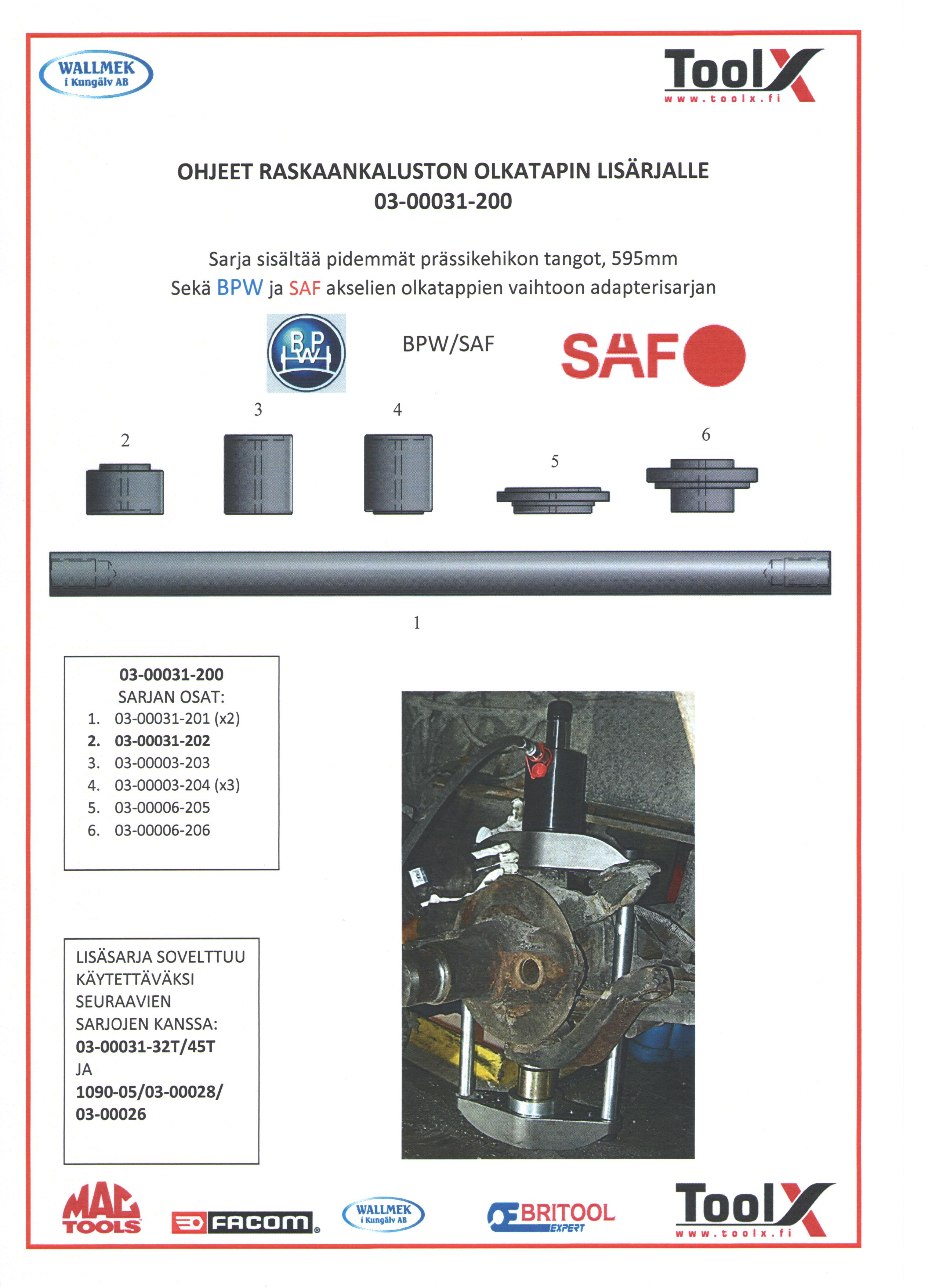 SAF & BPW adapterit - 1 001